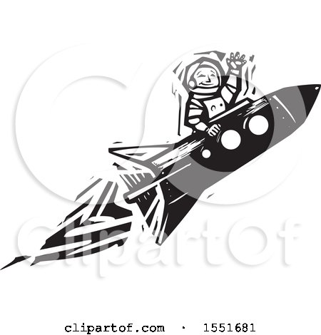 Clipart of a Waving Astronaut Peeking out of a Rocket - Royalty Free Vector Illustration by xunantunich