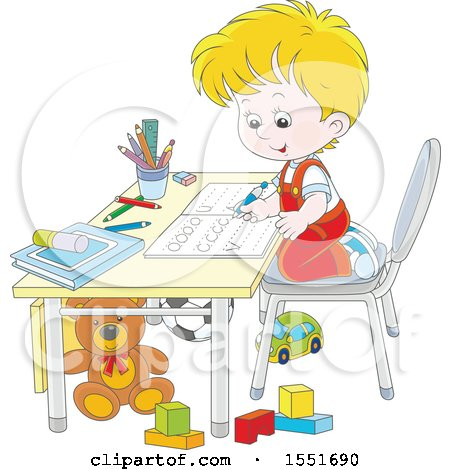 Clipart of a School Boy Learning to Write Letters - Royalty Free Vector Illustration by Alex Bannykh