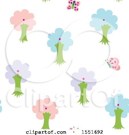 Clipart of a Butterfly and Tree Pattern - Royalty Free Vector Illustration by Cherie Reve