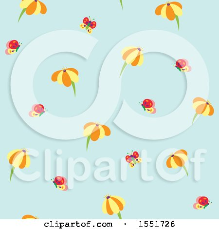 Clipart of a Cute Daisy and Butterfly Pattern - Royalty Free Vector Illustration by Cherie Reve