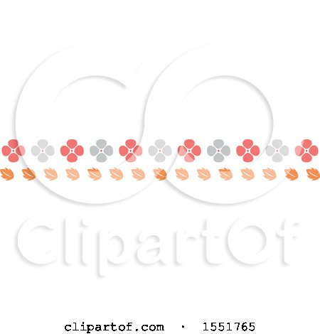 Clipart of a Flower and Autumn Leaves Border - Royalty Free Vector Illustration by Cherie Reve