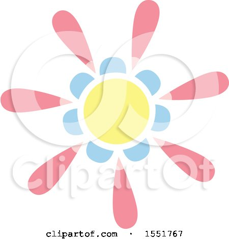 Clipart of a Pink Blue and Yellow Sun or Flower - Royalty Free Vector Illustration by Cherie Reve