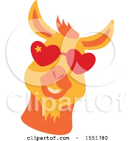 Clipart of a Cute Funky Llama Wearing Heart Sunglasses - Royalty Free Vector Illustration by Cherie Reve