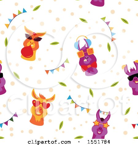 Clipart of a Funky Llama Pattern - Royalty Free Vector Illustration by Cherie Reve