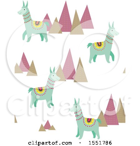 Clipart of a Peruvian Llama and Mountains Pattern - Royalty Free Vector Illustration by Cherie Reve