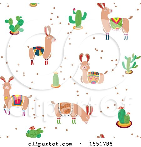 Clipart of a Peruvian Llama and Cacti Pattern - Royalty Free Vector Illustration by Cherie Reve