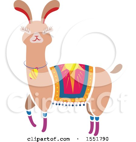 Clipart of a Cute Peruvian Llama - Royalty Free Vector Illustration by Cherie Reve