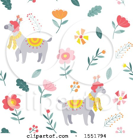 Clipart of a Spring Time Llama Pattern - Royalty Free Vector Illustration by Cherie Reve