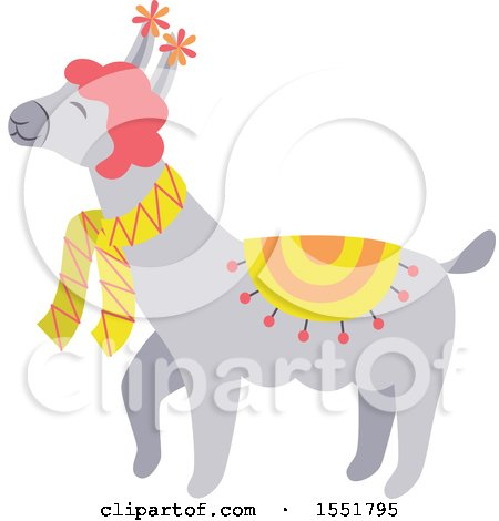 Clipart of a Spring Time Llama - Royalty Free Vector Illustration by Cherie Reve