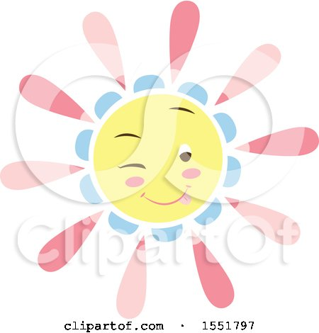 Clipart of a Happy Pink Blue and Yellow Sun - Royalty Free Vector Illustration by Cherie Reve