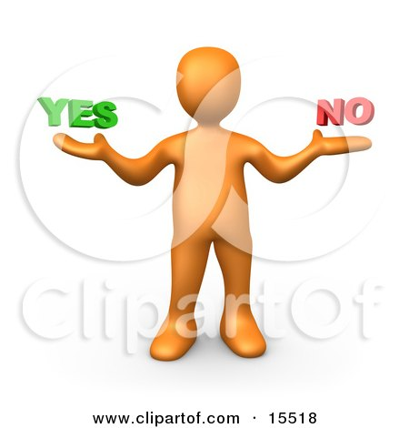 Uncertain Orange Person Shrugging And Weiging Out The Options Of Yes Or No Clipart Illustration Image by 3poD