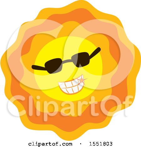 Clipart of a Happy Sun Wearing Sunglasses - Royalty Free Vector Illustration by Cherie Reve