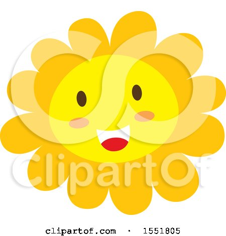 Clipart of a Happy Sun or Flower - Royalty Free Vector Illustration by Cherie Reve