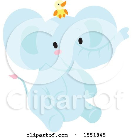 Cute Blue Baby Elephant and Chick Posters, Art Prints