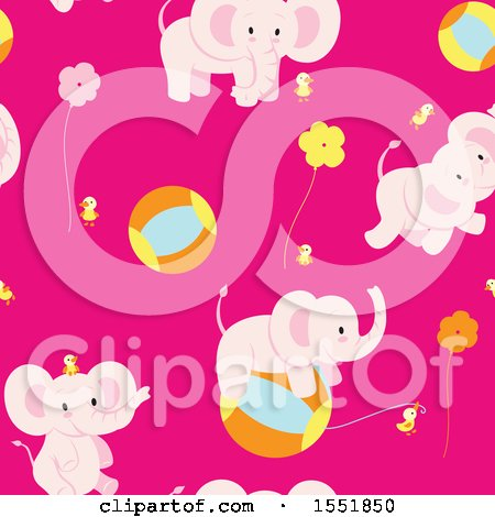 Cute Pink Baby Elephant Pattern Posters, Art Prints