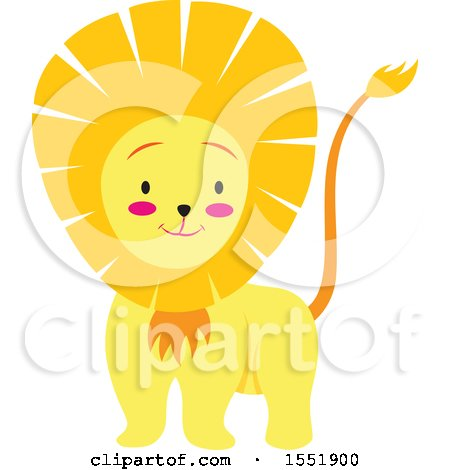 Clipart of a Cute Male Lion - Royalty Free Vector Illustration by Cherie Reve