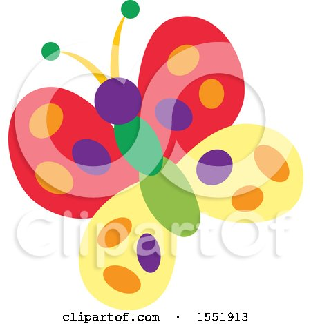 Clipart of a Colorful Butterfly - Royalty Free Vector Illustration by Cherie Reve