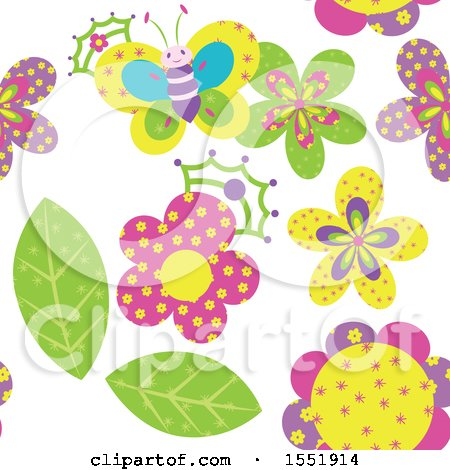 Clipart of a Crowned Butterfly and Flower Pattern - Royalty Free Vector Illustration by Cherie Reve