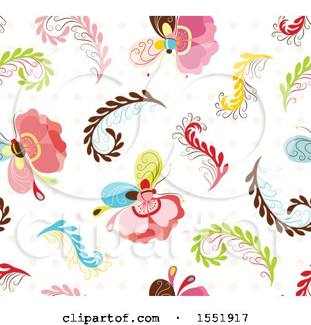 Clipart of a Butterfly Pattern - Royalty Free Vector Illustration by Cherie Reve