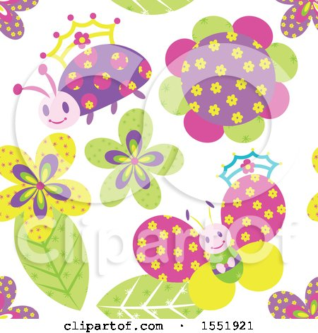 Clipart of a Crowned Ladybug, Butterfly and Flower Pattern - Royalty Free Vector Illustration by Cherie Reve