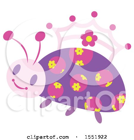 Clipart of a Crowned Ladybug Princess - Royalty Free Vector Illustration by Cherie Reve