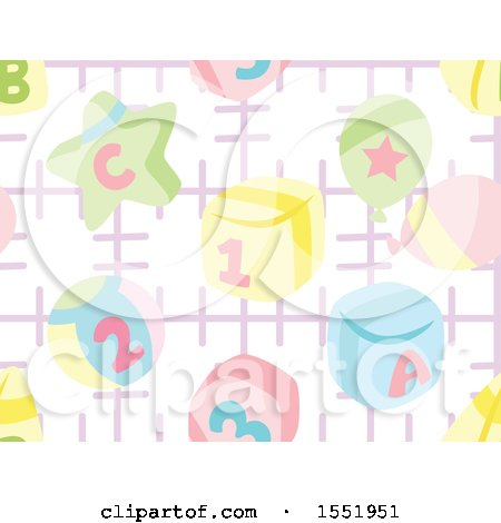 Clipart of a Baby Toy Pattern - Royalty Free Vector Illustration by Cherie Reve