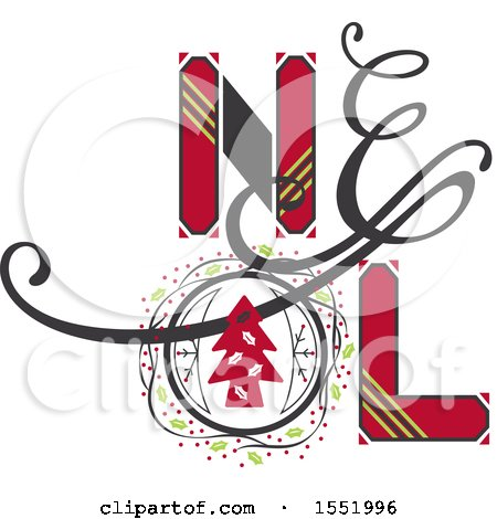 Clipart of a Noel Christmas Design - Royalty Free Vector Illustration by Cherie Reve