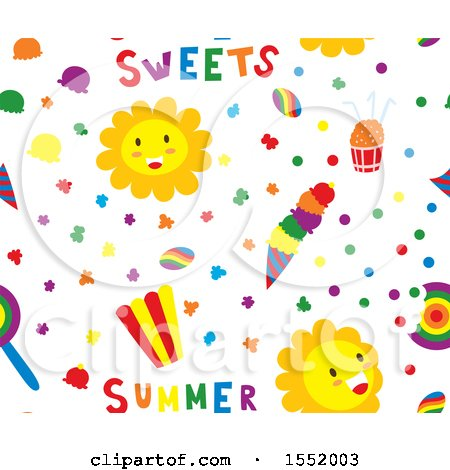Clipart of a Summer Time Pattern - Royalty Free Vector Illustration by Cherie Reve