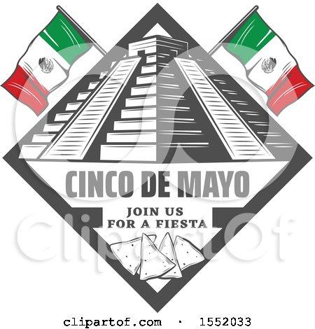 Clipart of a Retro Styled Cinco De Mayo Design with El Castillo Pyramid and Tortilla Chips - Royalty Free Vector Illustration by Vector Tradition SM