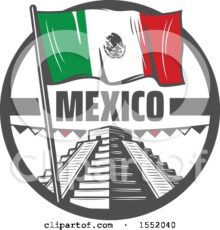 Clipart of a Retro Styled Cinco De Mayo Design with El Castillo Pyramid and a Flag - Royalty Free Vector Illustration by Vector Tradition SM