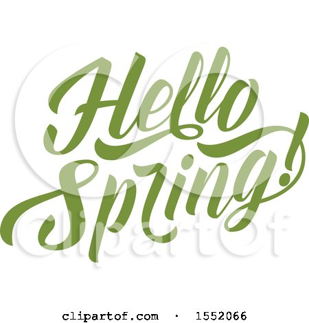 Clipart of a Green Hello Spring Time Text Design - Royalty Free Vector Illustration by Vector Tradition SM