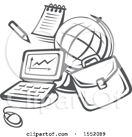 Clipart of a Grayscale Back to School Design - Royalty Free Vector Illustration by Vector Tradition SM