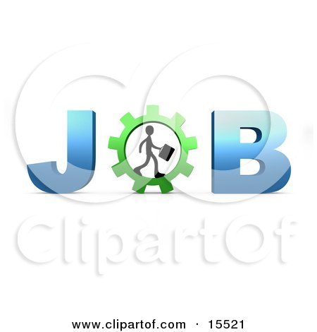 Silhouetted Person Carrying A Briefcase And Walking In A Gear That Forms The Letter O In The Word Job Clipart Illustration Image by 3poD
