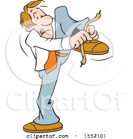 Clipart of a Cartoon Business Man Tying His Show Laces Wrong - Royalty Free Vector Illustration by Johnny Sajem