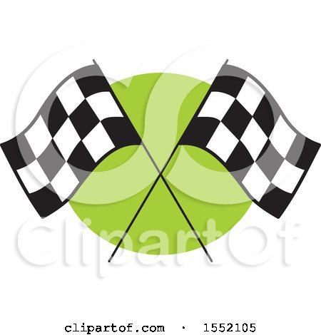 Clipart of Crossed Checkered Racing Flags over Green - Royalty Free Vector Illustration by Johnny Sajem