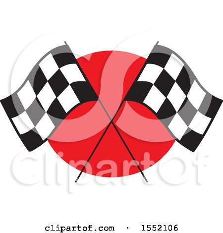 Clipart of Crossed Checkered Racing Flags over Red - Royalty Free Vector Illustration by Johnny Sajem