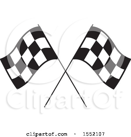 Clipart of Crossed Checkered Racing Flags - Royalty Free Vector Illustration by Johnny Sajem