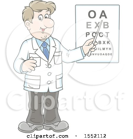 Clipart of a White Male Eye Doctor Optometrist Pointing to a Chart - Royalty Free Vector Illustration by Alex Bannykh