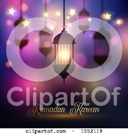 Clipart of a Ramadan Kareem Design with a Silhouetted Lantern - Royalty Free Vector Illustration by KJ Pargeter