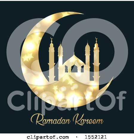 Clipart of a Ramadan Kareem Design with a Silhouetted Gold Mosque on a Crescent Moon - Royalty Free Vector Illustration by KJ Pargeter