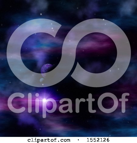 Clipart of a 3d Colorful Nebula and Planet Sky - Royalty Free Illustration by KJ Pargeter