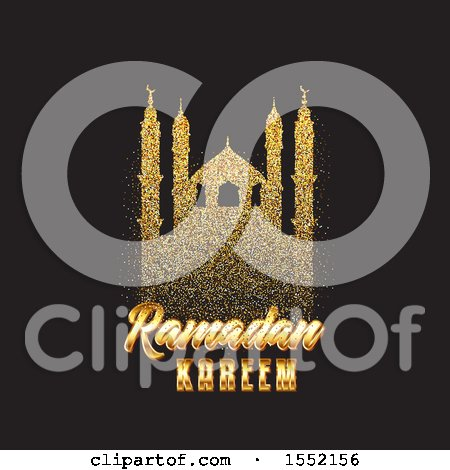 Clipart of a Ramadan Kareem Design with a Silhouetted Gold Glitter Mosque - Royalty Free Vector Illustration by KJ Pargeter