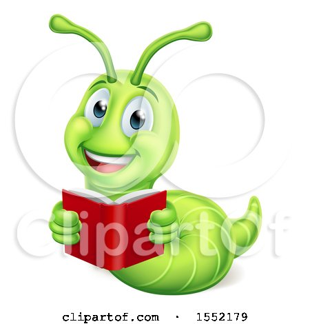 Clipart of a Happy Green Worm Reading a Book - Royalty Free Vector Illustration by AtStockIllustration