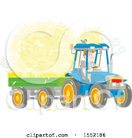 Clipart of a Caucasian Male Farmer Hauling Hay with a Tractor and Trailer - Royalty Free Vector Illustration by Alex Bannykh