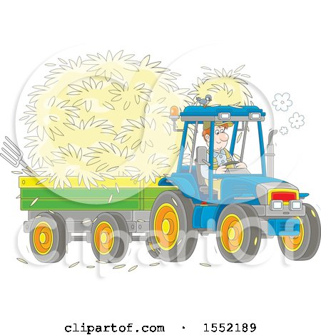 Clipart of a White Male Farmer Hauling Hay with a Tractor and Trailer - Royalty Free Vector Illustration by Alex Bannykh