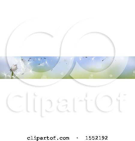 Clipart of a Wishey Blow Dandelion Seed Border - Royalty Free Vector Illustration by dero
