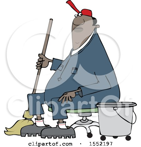 Clipart of a Cartoon Black Male Custodian Janitor Taking a Break and Sitting in a Chair with a Mop and Bucket - Royalty Free Vector Illustration by djart