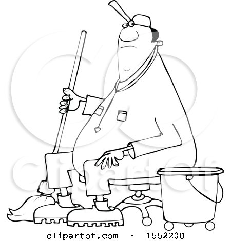Clipart of a Cartoon Lineart Black Male Custodian Janitor Taking a Break and Sitting in a Chair with a Mop and Bucket - Royalty Free Vector Illustration by djart