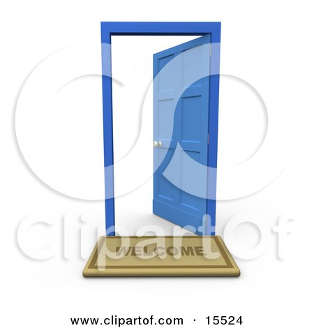 Open Door Clipart royalty-free (rf) clipart illustration of a blue sky through open