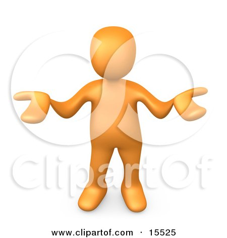 Orange Person Gesturing In Uncertainty And Asking What They Should Do To Solve A Problem Clipart Illustration Image by 3poD